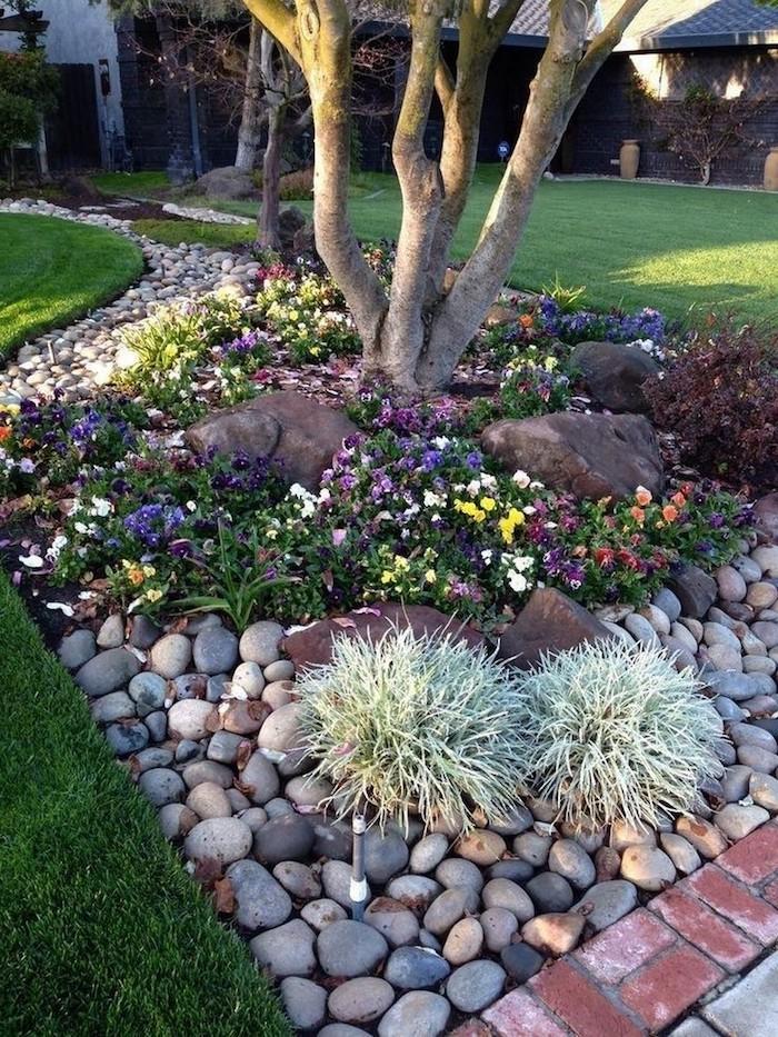 idee amenagement jardin devant maison combination des plantes arbres et cailloux