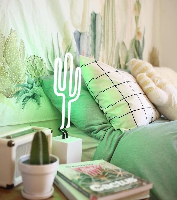 idee cactus deco lample neon cactus de nuit pot de petit cactus coussins couverture de lit