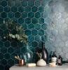 idee carrelage petite salle de bains hexagone bleu turquoise moderne petite espace