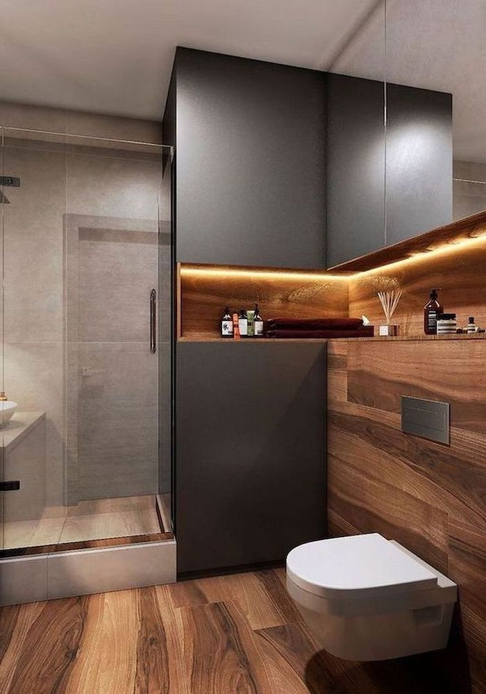 idee d amenagment salle de bain en style rustique et bois