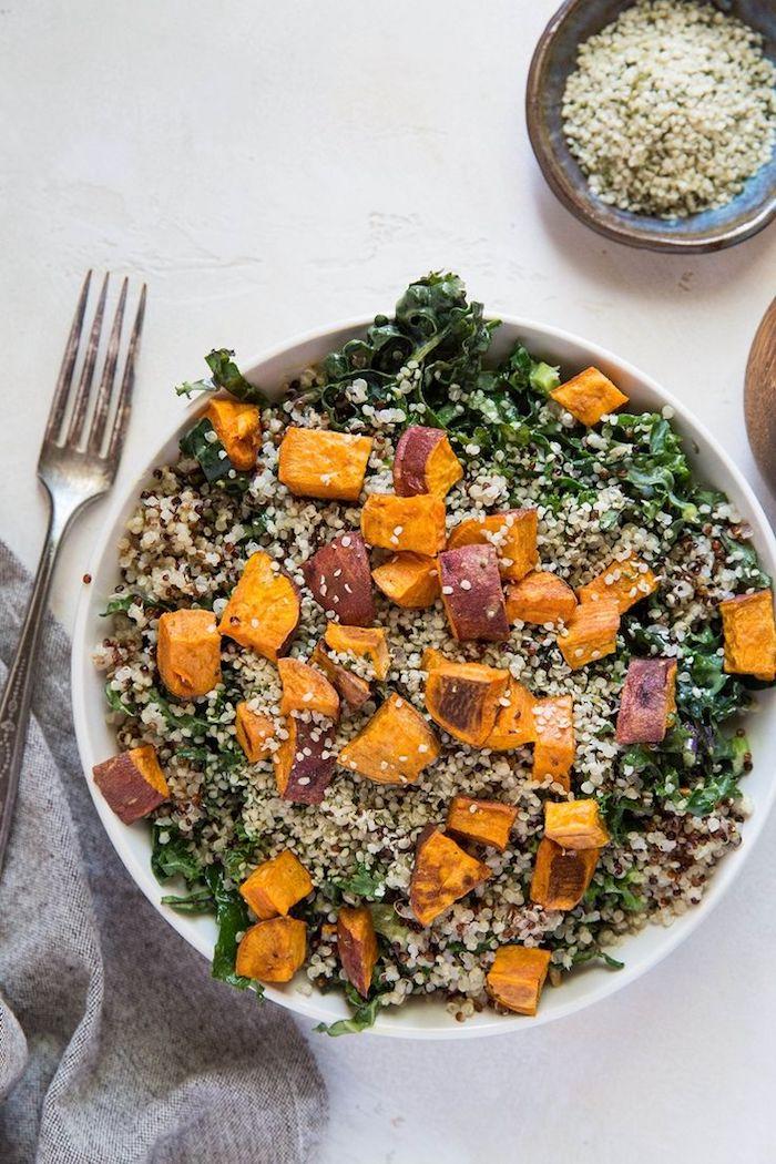 idee recette automne salade de courge quinoa et choux frise rectte facile