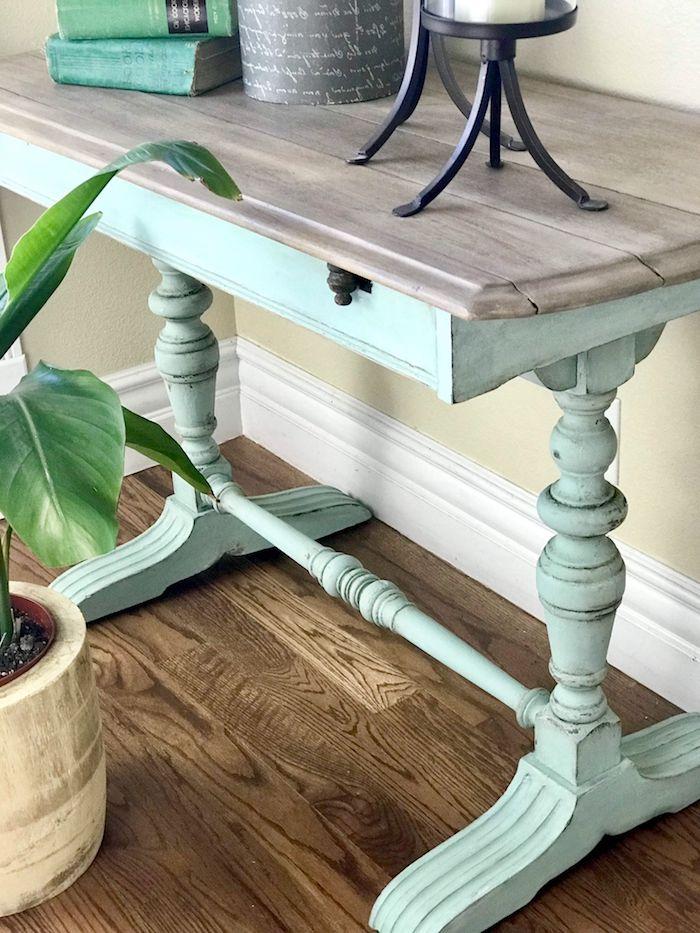 idees de couleur pour relooker un meuble ancien table en bois couleur menthe et lait