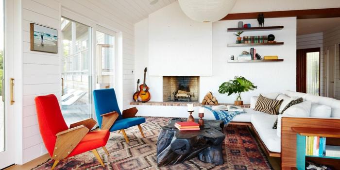 intérieur moderne avec meubles style rétro canapé cosy salon chaleureux peinture pour salon guitare pres de la cheminee