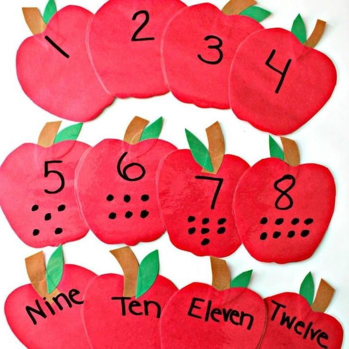 jeu de pommes de papier pour apprendre les chiffres idée activités manuelles enfants originales à but éducatif