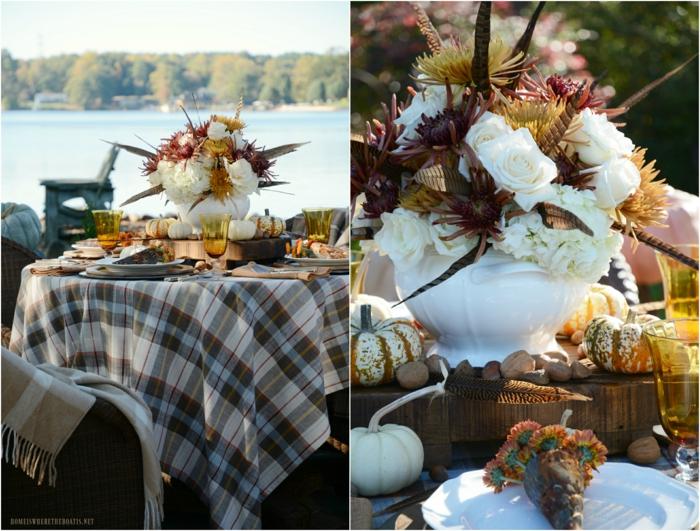 la table d automne idee avec vase blanche fleurs activité sur l automne deco table d automne la plus belle décoration