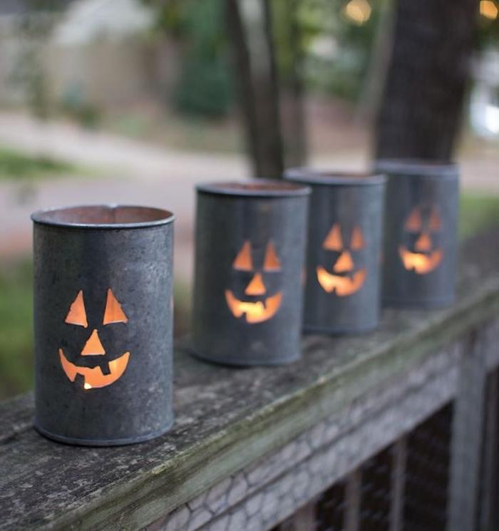 lanternes diy deco halloween simple et originale en boites recyclés et troués motis jack o lanterne deco citrouille inspiré