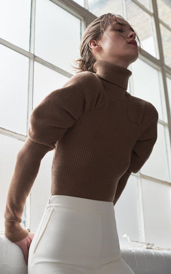 large safiyaa neutral karine puff sleeve ribbed knit wool turtleneck top