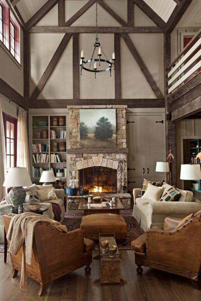 le style rustique magnifique maison cheminee pierres ambiance cosy salon chaleureux tapis cocooning