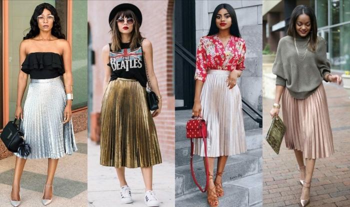 les meilleures idées pour adopter la jupe plissee couleur metalique quelles chaussures porter avec une jupe longue plissee