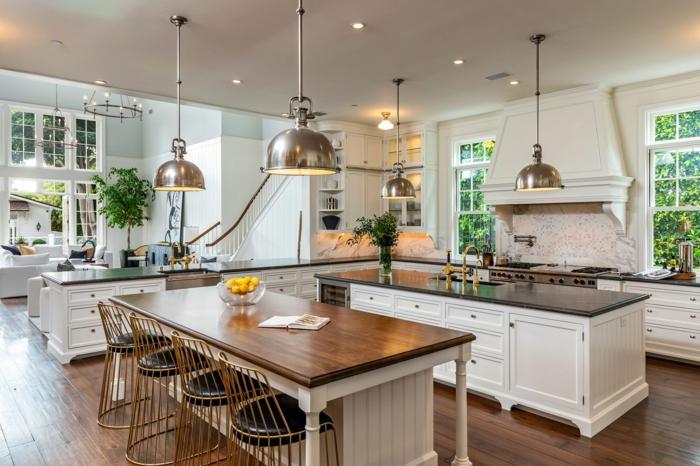 luxueuse maison cuisine rustique moderne originale idée pour une cuisine vintage table bois