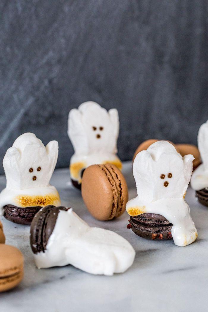 macarons à guimauve motif fantome gateau facile halloween a faire soi meme