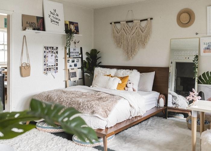 macramé mural suspension diy noeuds corde macramé échelle décorative rangement cadre de lit bois foncé tête de lit
