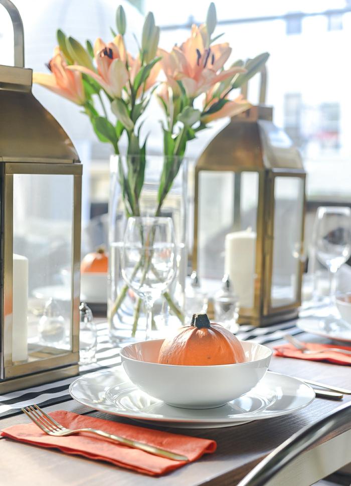 magnifique idee vase verre orange citrouille deco d automne activité manuelle automne idées deco a faire soi meme lanternes dores