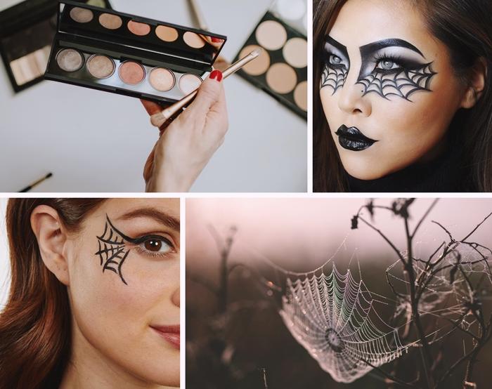 makeup effrayant dessin toile araignee visage femme halloween deguisement eye liner toile d araignee fards paupieres mascara