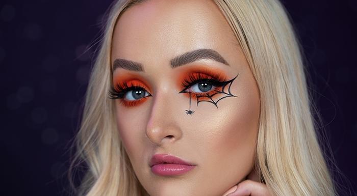 makeup facile fete halloween deguisement femme maquillage fards paupieres orange dessin toile araignee eye liner noir