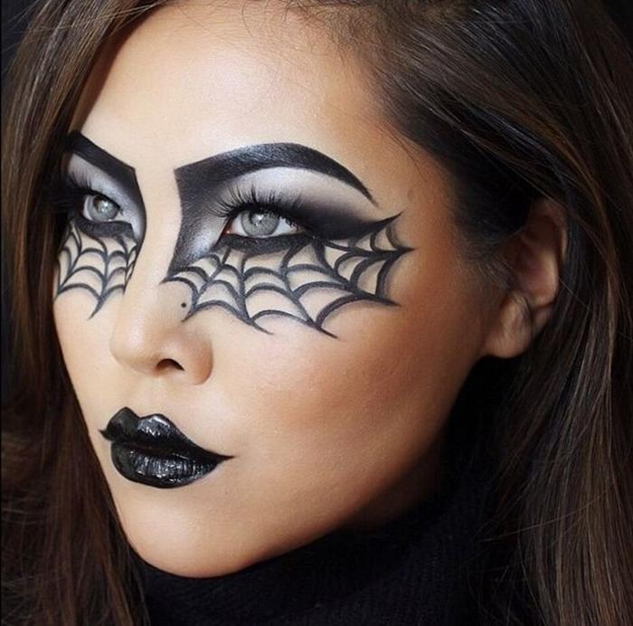makeup halloween facile à faire maison idée maquillage femme fête déguisée femme araignée toile dessin crayon et fards paupières noirs