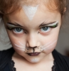 a little girl with her face painted as a cat