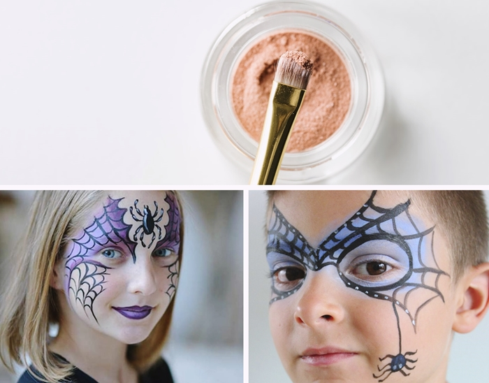 maquillage halloween enfant deguisement spiderman idee makeup dessin toile d araignee peinture visage stickers