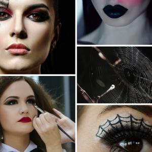 maquillage halloween femme make up technique dessin sur visage facile dessin toile araignee oeil crayon noir