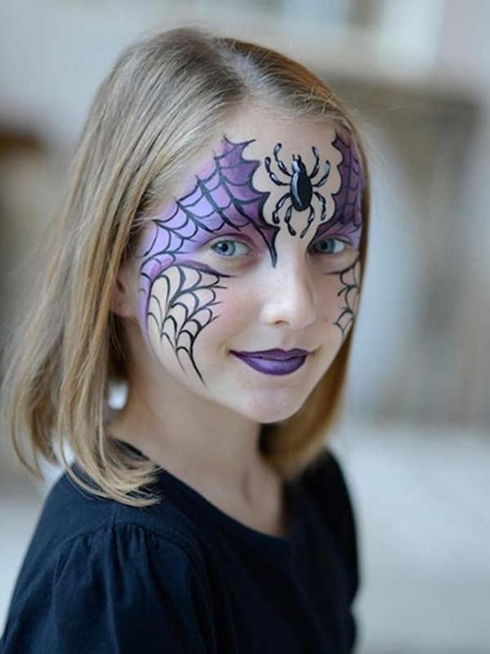 maquillage halloween fille facile motif dessin sur visage toile d araignée crayon eye liner noir ombres paupières violets