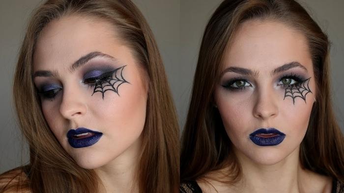 maquillage halloween simple à faire soi même dessin toile araignée en eyeliner noir yeux verts makeup facile fête