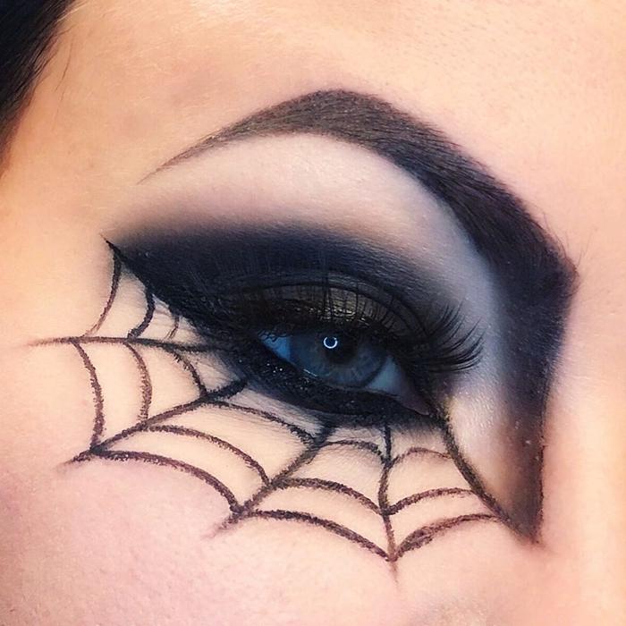 maquillage halloween simple fards à paupières noirs dessin facile sur visage déguisement femme makeup maison