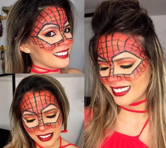 maquillage toile d araignée idée déguisement femme halloween rouge à lèvre rouge dessin masque toile rouge araignée