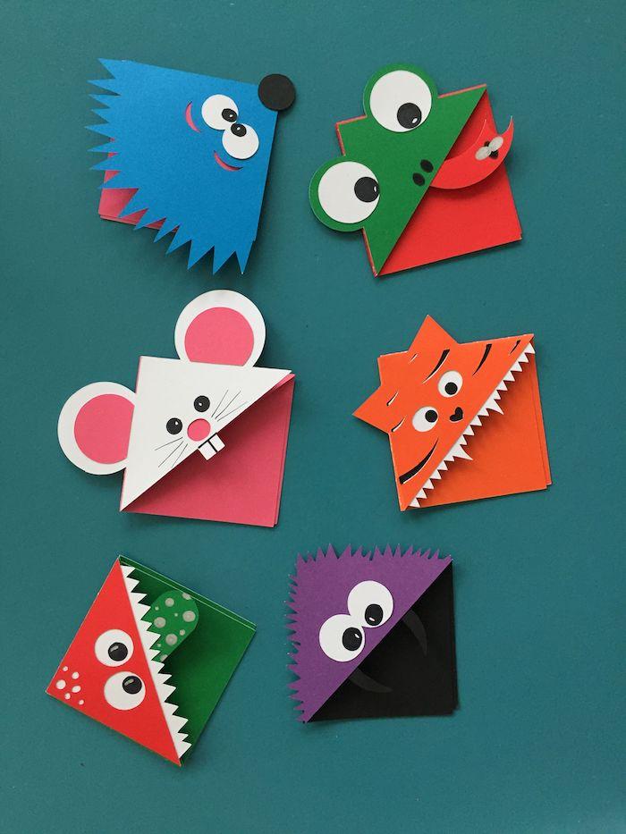 marque page diy exemple coin de page triangle avec des têtes d animaux monstres colorés de papier