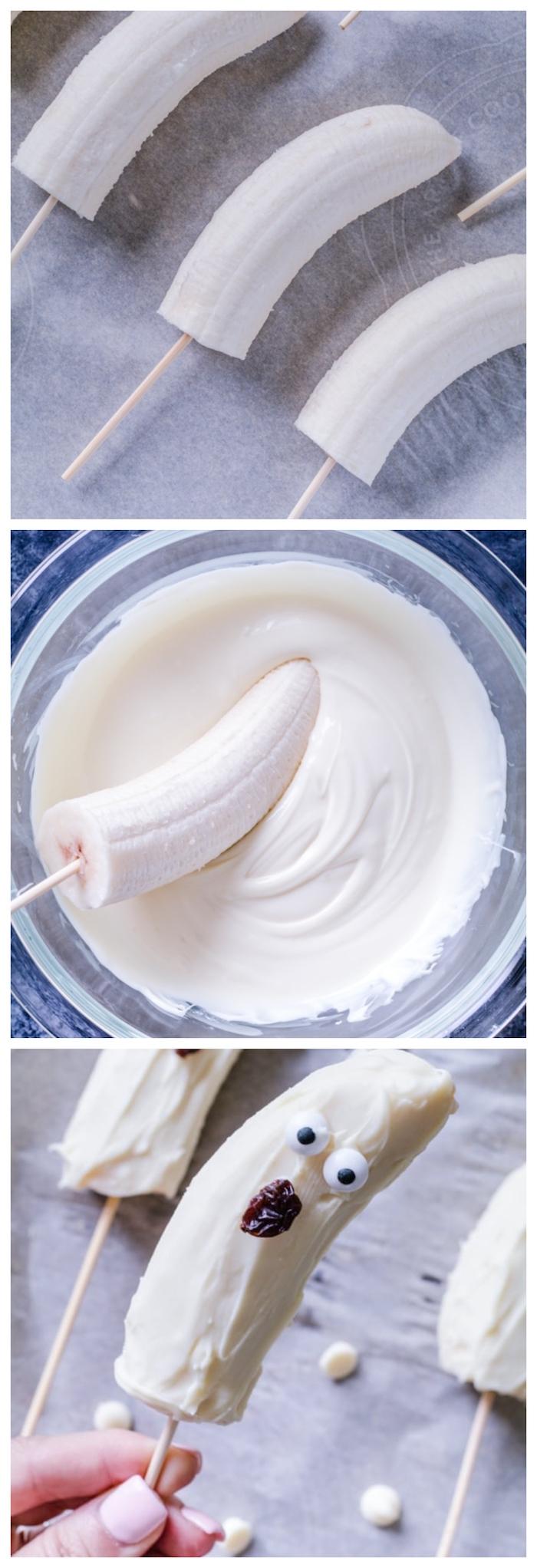 menu halloween pour le gouter enfant banane enrobée de chocolat blanc avec des yeux de sucre et raisin pour la bouche