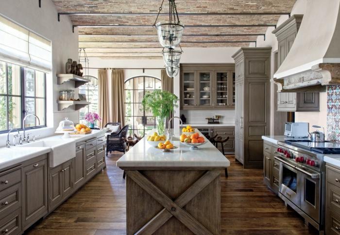 moderne cuisine bois massif cuisine campagne chic au style champetre couleurs claires