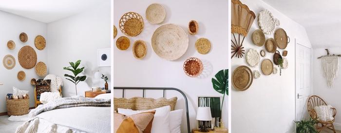 mur de paniers tresses decoration chambre boheme style meubles rotin tendance mobilier chaise rotin