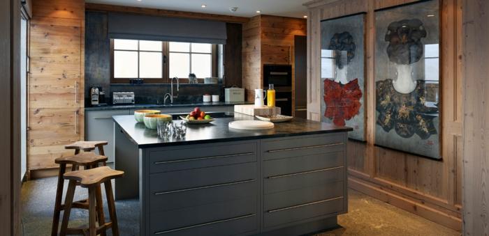 noir ilot de bain murs bois cuisine campagne chic tendances d interieur 2020 chaises hautes bois rustique