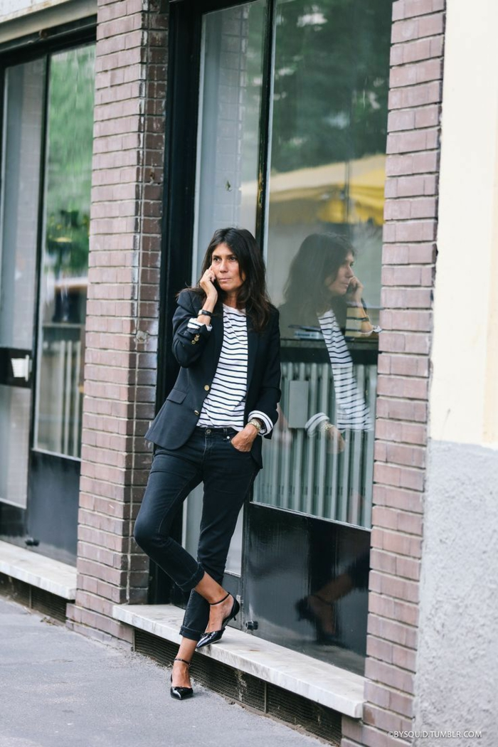 noir veste et jean avec t shirt rayé chaussures à petit talon savoir comment bien s habiller look parisienne femme