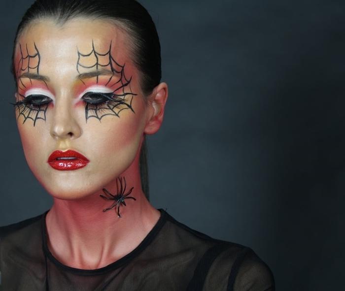 ombres paupières blanc et orange maquillage toile d araignée rouge à lèvre rouge brillant toile araignée en crayon noir