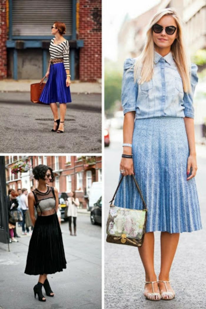 originale idee comment porter la jupe plissee tenue classe femme chaussures à porter avec une jupe longue plissee