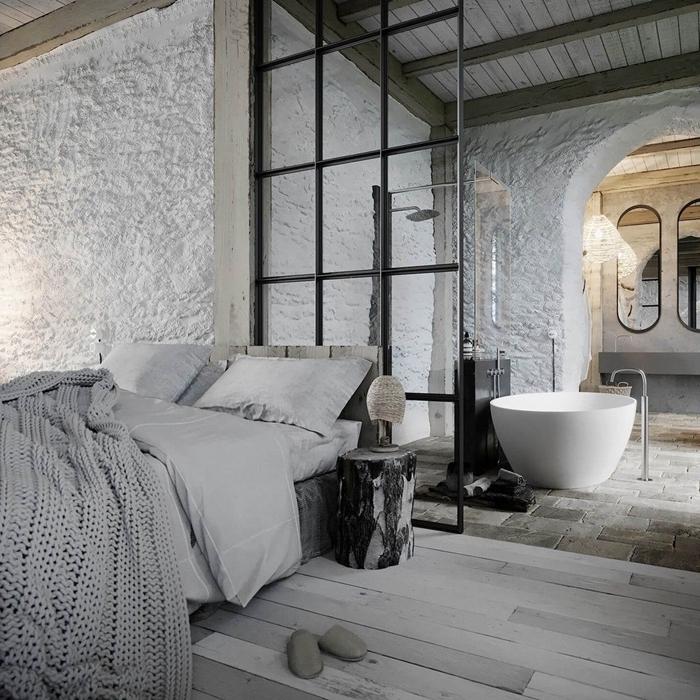 peinture à effet parquet bois blanc plaid crochet gris clair separation chambre salle de bain photos miroir ovale cloisson verre
