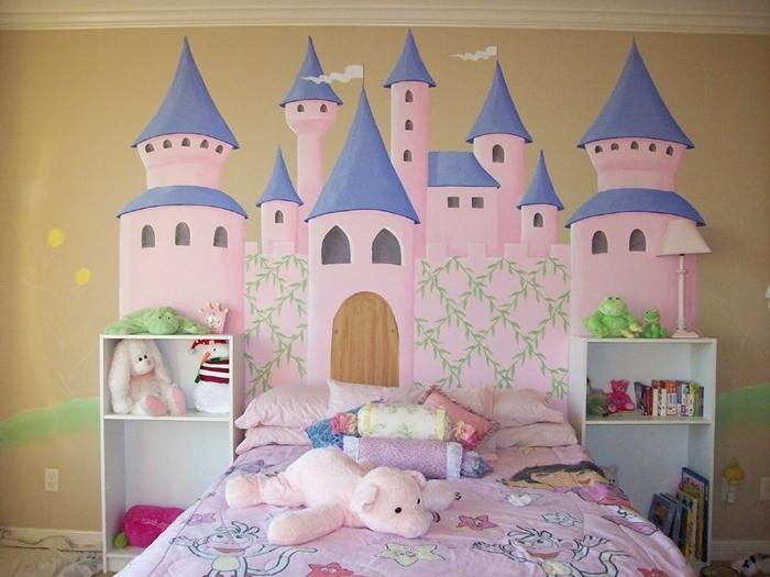 peinture murale sable tete de lit a faire soi meme avec peinture meuble de rangement jouets chambre enfant plafond beige
