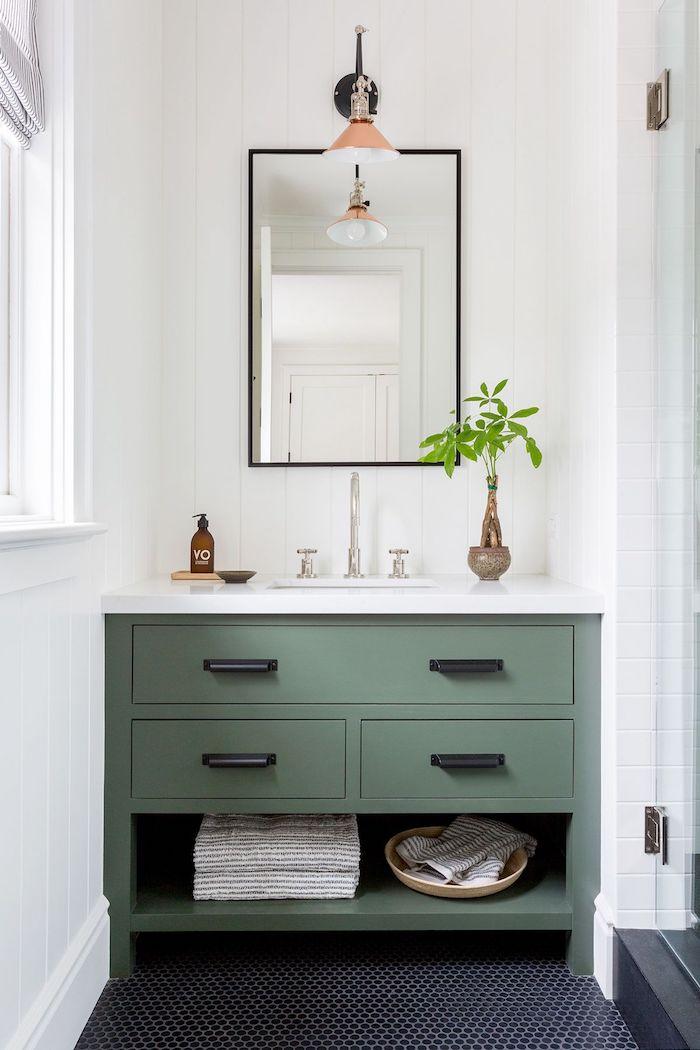 petite salle de bain style zen commode vert en bois