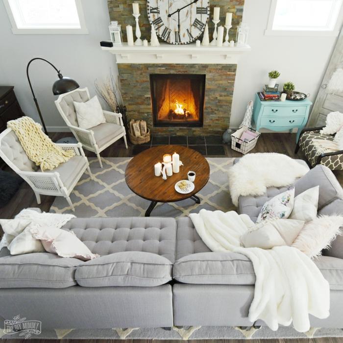 photo de haut déco salon cocooning hygge scandinave style norfdique canapé gris en angle