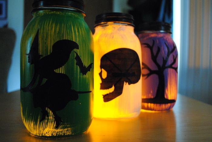 photophore motif sorciere hallowee crane et arbre silhouette noire activités manuelles halloween adultes comment faire une deco halloween originale