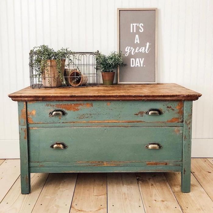 plancher en bois plantes vertes sur un commode reseda idée de couleur pour repeindre un meuble