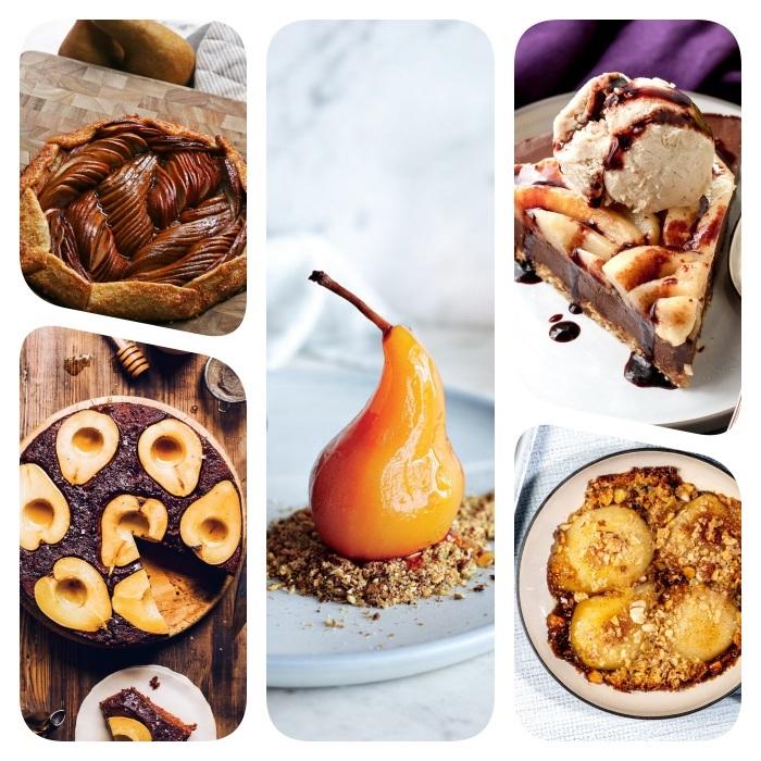 plusieurs idees de dessert aux poires avec des fruits de saison dessert poire chocolat caramel flocons d avoine glace galette maison, que faire avec des poires
