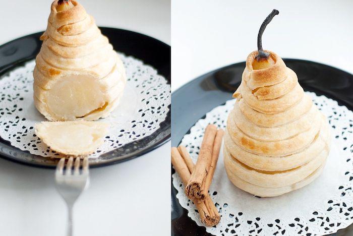 recette avec des poires idée poires cuites dans de la pâte avec de la cannelle