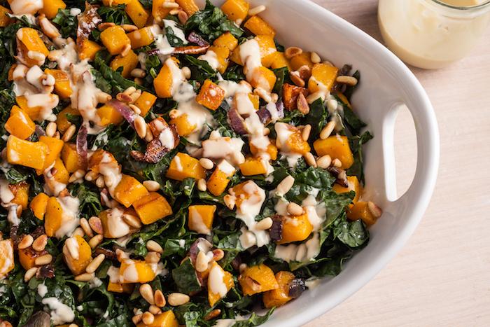 recette entree automne unique salade de chous cedre courge et vinaigrette de tahini