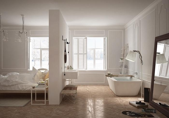 revêtement sol parquet bois clair chambre parentale avec salle de bain peinture blanche meubles blancs gros miroir cadre bois