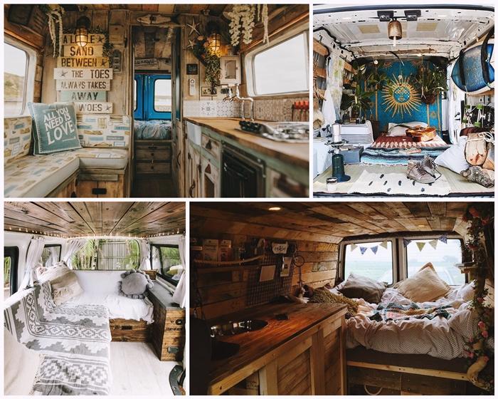 revetement bois mur parquet interieur van camping car amenagement lit meubles convertibles fonctionnels deco