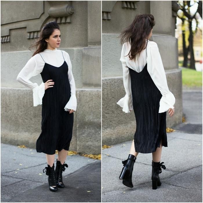 robe plissée avec chemise blanche en dessous comment porter une jupe plissée en hiver jupe plissée noire