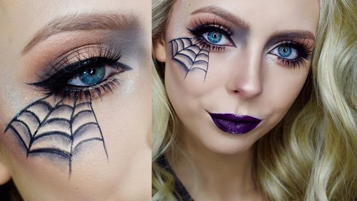 rouge à lèvres violet maquillage yeux bleus faux cils mascara makeup halloween facile dessin araignée eye liner noir