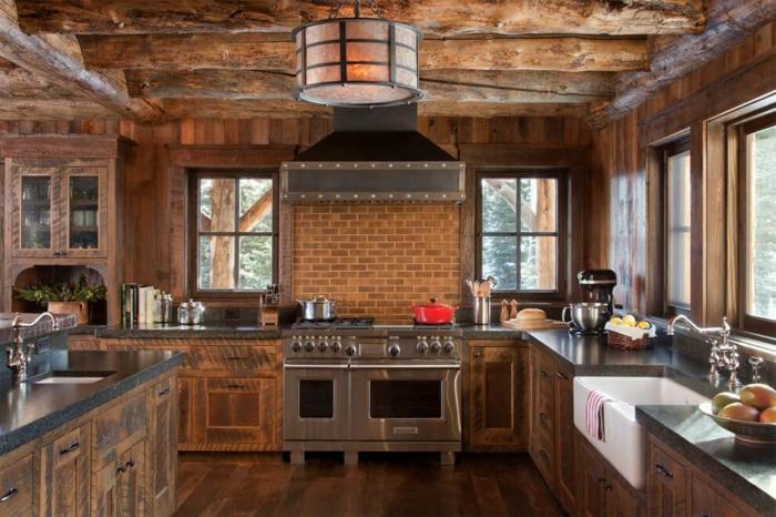 rustique cuisine cuisine chene cuisine champêtre dans la grande ville bois et pierres