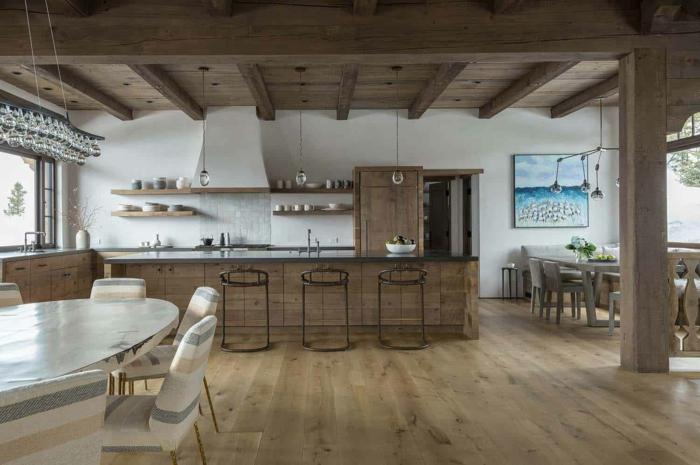 rustique déco chalet bois cuisine rustique la mode du style campagne cuisine ancienne mur blanche plancher bois